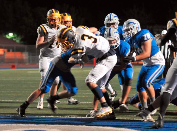 Nevada Union's Dawson Fay runs in for one of his two touchdowns against Rocklin last week. This week, Fay and the Miners head to Loomis to face Del Oro.