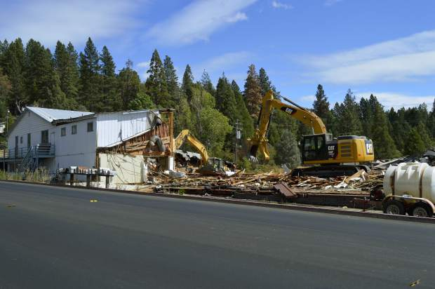 Demolition work continues this week on the former site of Meek's Lumber Company, which will be replaced by a new Tractory Supply Co. store. The Nevada City Highway site had been a lumber yard since 1935, with Yuba River Lumber operating there until 2001.
