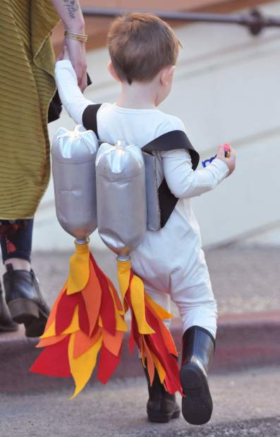 Homemade costumes were abound Tuesday morning in downtown Grass Valley, including these nifty jetpacks made out of used plastic bottles.