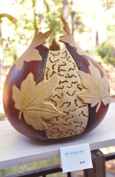 Meticulously decorated and carved gourds by Carin Brooks joined a host of artists gathered at Katie Wolff's home in Alta Sierra.