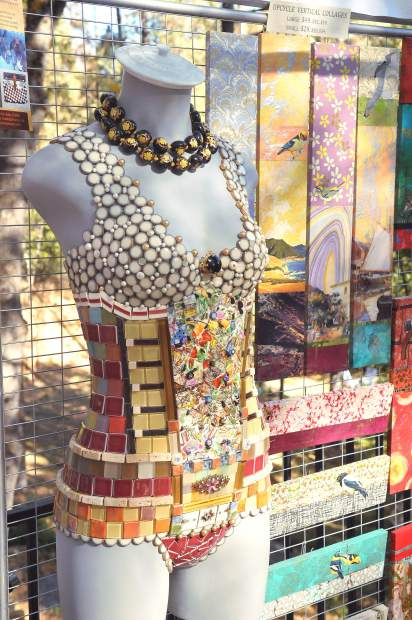 Mosaic artist Martha Jones displays pieces from her collection all made from recycled, reused, and found materials.