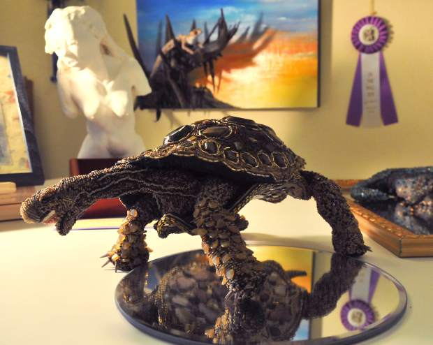 Grass Valley mixed media artist Valerie Messervy Birkhoff displays a variety of her art during the open studios and art tour, including a very detailed and meticulously crafted bead tortoise.