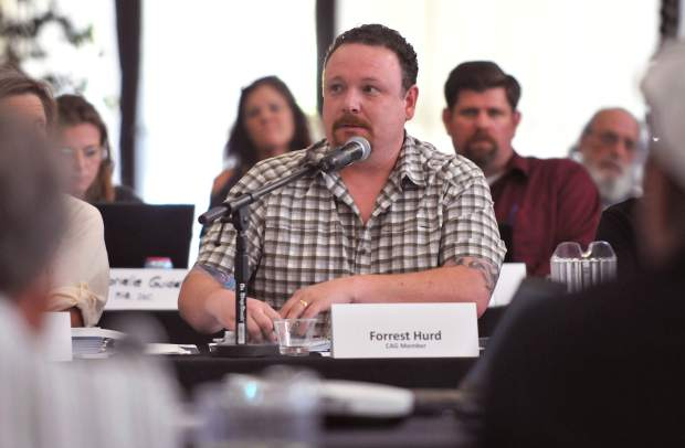 Community advisory group member and local medical cannabis proponent Forrest Hurd, makes sure to identify issues for discussion during Tuesday's meeting.