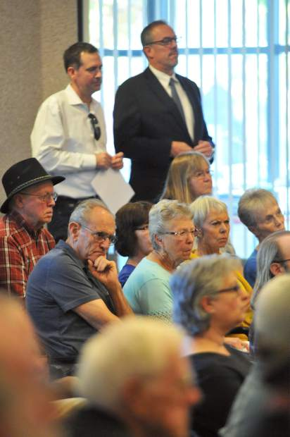 County residents and Dollar General stakeholders listen to the comments of County Planning Commissioners, staff, and concerned residents during Thursday's meeting regarding three proposed county Dollar General store locations.