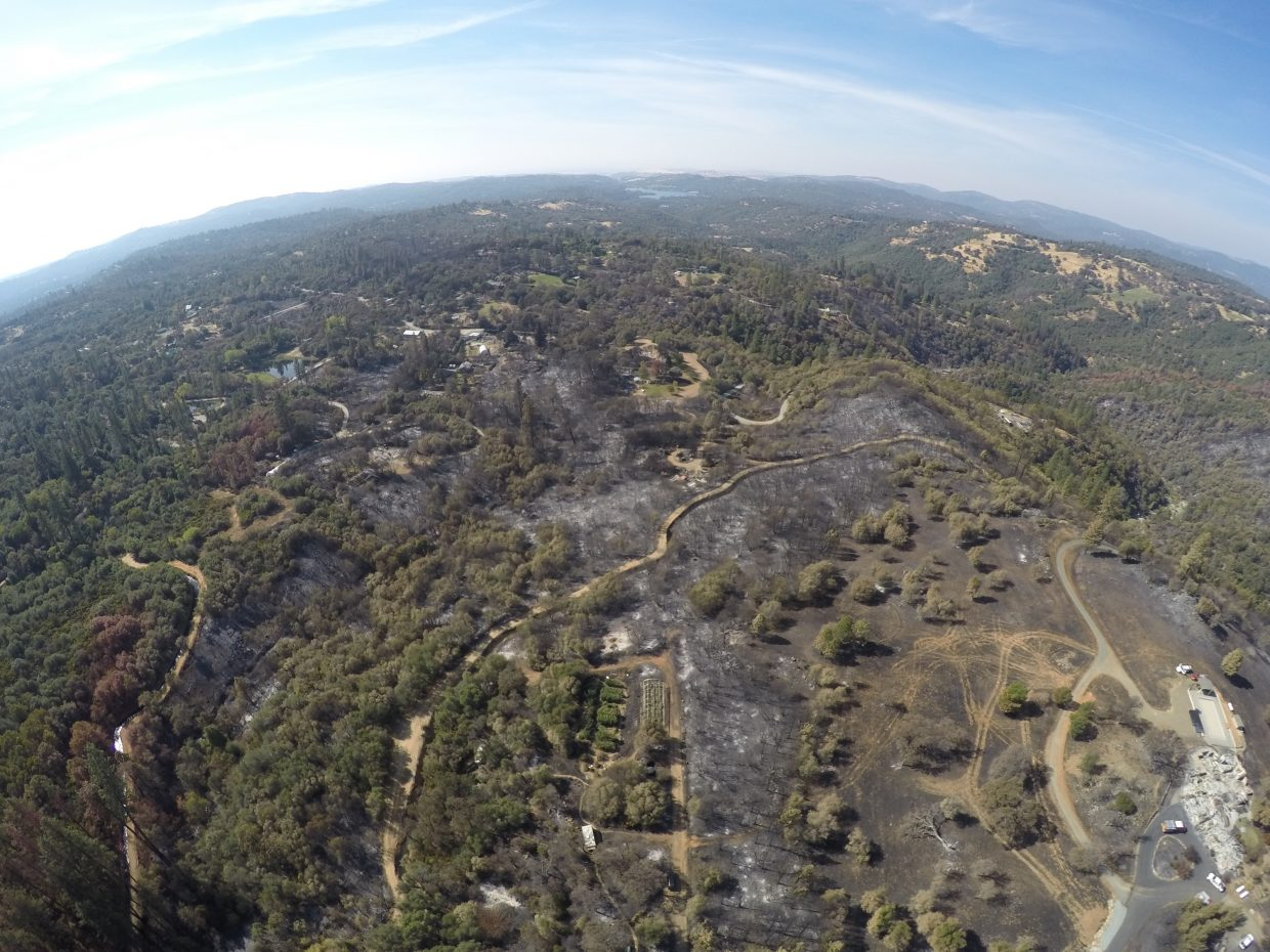 Aerial view of the Penn Valley area following the Lobo Fire. Lake Wildwood can be seen in the distance.