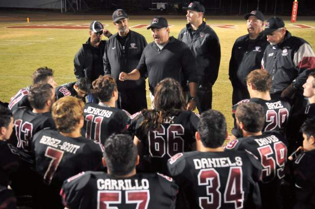 The Bear River coaches congratulate the team for being well prepared coming into the matchup against Colfax. Bear River needs one more league win to be able to qualify for the playoffs and have two games left in the season.