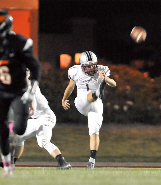 Bear River kicker Alex Bohn gives the football a nice punt during Friday's win against the Foothill Mustangs.