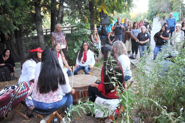 A women's drumming circle starts the beginning of the Indigenous Peoples Day Friday night across from Calanan Park in downtown Nevada CIty, where the old bark house used to be. Friday night's event was part of a weekend long celebration of native people.
