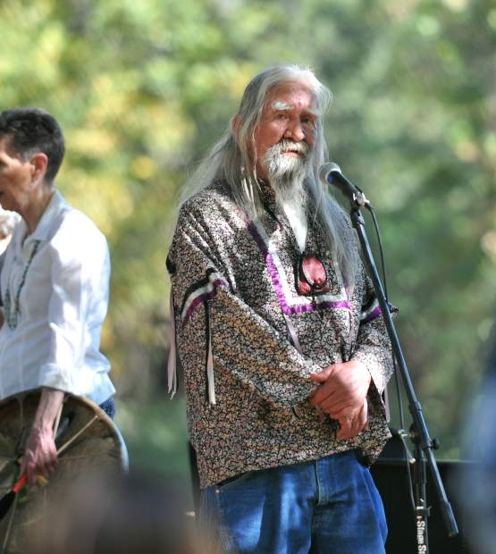 Fred 'Coyote' Downey prepares to speak during Saturday's Indigenous Peoples Day celebration at Sycamore Ranch.