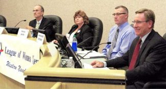 """A debate on Measure S hosted by the League of Women Voters took place in 2014 at the Nevada County Board of Supervisors chamber in Nevada City. Representing """"Yes on S"""" were attorney Stephen Munkelt, far left, and Measure S leader Patricia Smith, second from left. Nevada County Sheriff's Lt. Bill Smethers, second from right, and Nevada County District Attorney Cliff Newell spoke for the """"No on S"""" side. Union file photo"""