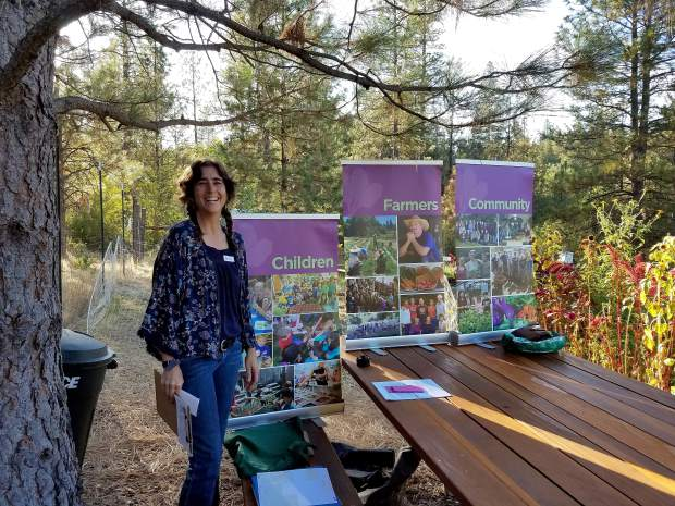 Rachel Berry, Engagement Director at Sierra Harvest, right before a presentation to the 49er Breakfast Rotary Club of Nevada City Monday.
