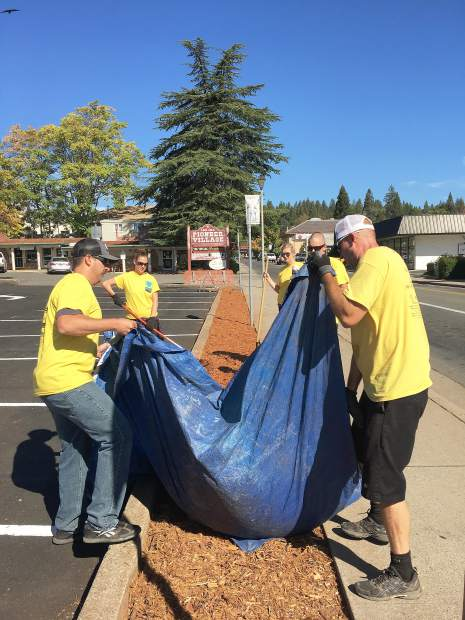 A group helping clean up at Pioneer Village during this month's RAKE event.