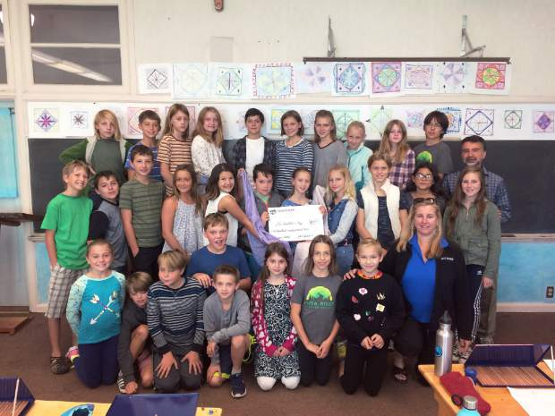 Picture of the fifth grade class at Yuba River Charter School who donated to the United Way Worldwide Hurricane Relief Fund through our local United Way office. United Way of Nevada County matched their donation to make a total of $400.