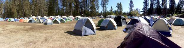 Tent city for the firefighters at the Nevada County Fairgrounds last week. There were also trailers set up for showers nearby.