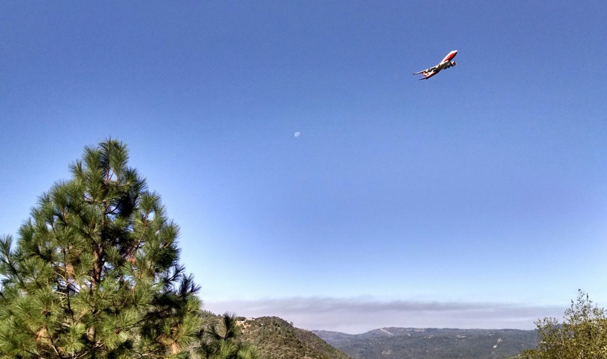 Water tanker heading away from Lobo fire after dumping on the blaze this morning.