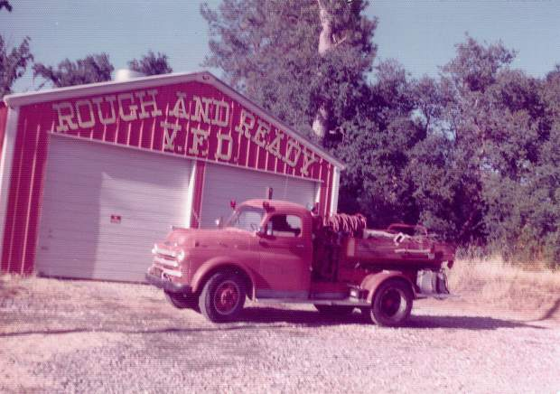 Rough and Ready Volunteer Fire Department's engine at its station, circa 1970.