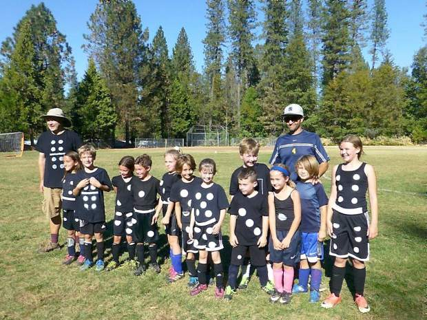 The Rhinos changed it up and competed as dominoes at the Gold Country Youth Soccer League Halloween Jamboree.