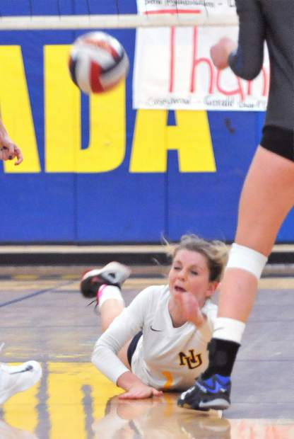 Nevada Union's Eliza Hales digs the ball during Wednesday's league win over the Rocklin Thunder.