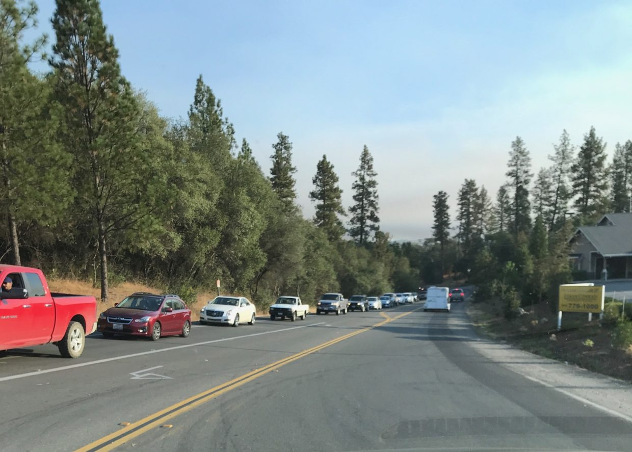 Traffic on Highway 20 this morning due to Lobo Fire.