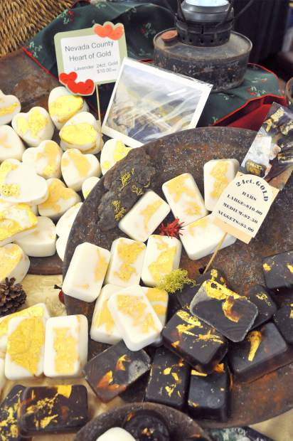 Gold leaf infused soaps from Round Mountain Essentials were a popular, eye-catching item at Saturday's Holiday Show and Sale.