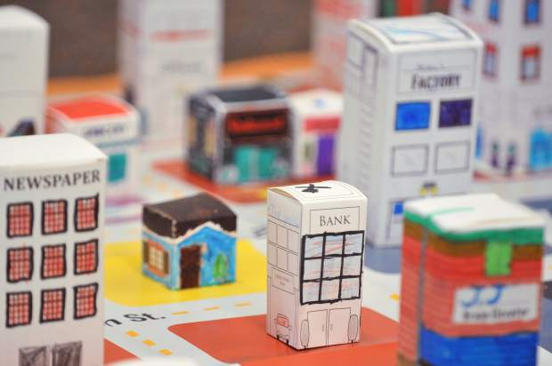 Students in Robin Johnston's third grade Chicago Park Elementary School class, made a city scene to help learn the importance of city planning during their junior achievement program Thursday morning.