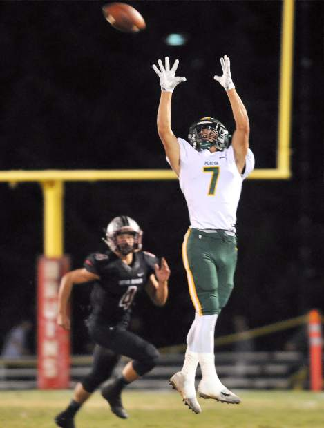 Placer wide receiver Travis Warren (7) and the Hillmen will take on Center in the Sac-Joaquin Section D-IV championship game Saturday.