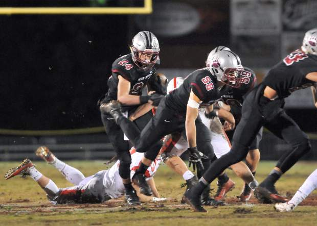 Bear River running back Tre Maronic, carries the ball and picks up yards during the Bruins' second round playoff win over the Ripon Indians.