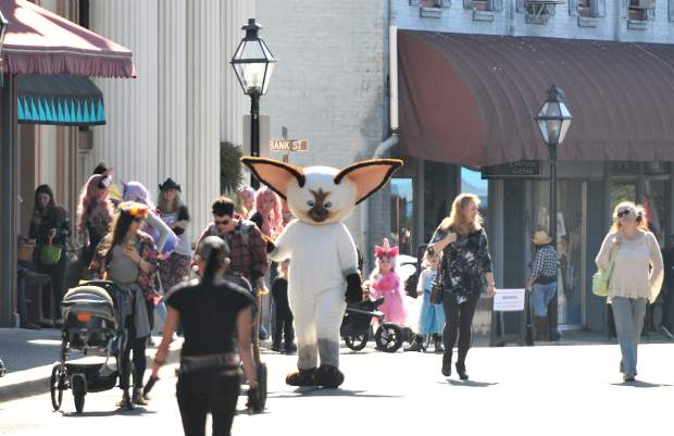 Costumes of all shapes and sizes, store bought and homemade, all came downtown to show off their styles.