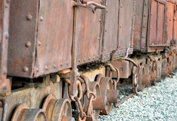 Some old rusted shipping containers at Empire Mine park.