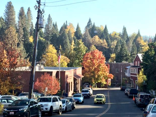 Fall in Nevada City looking down at the post office.