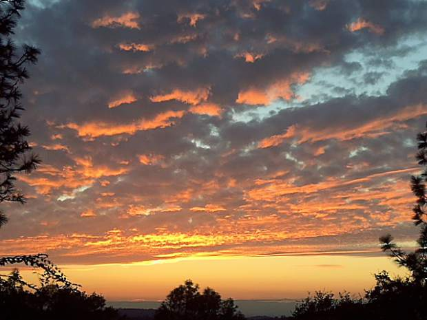 A sunset viewed from a home on East Lime Kiln Road in Grass Valley