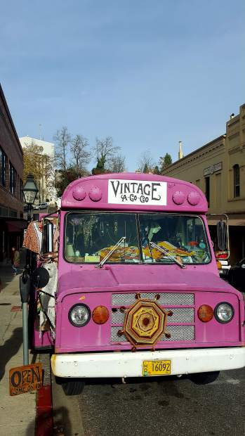 The traveling Vintage Go-Go Bus, parked on Broad St in Nevada City last Saturday.