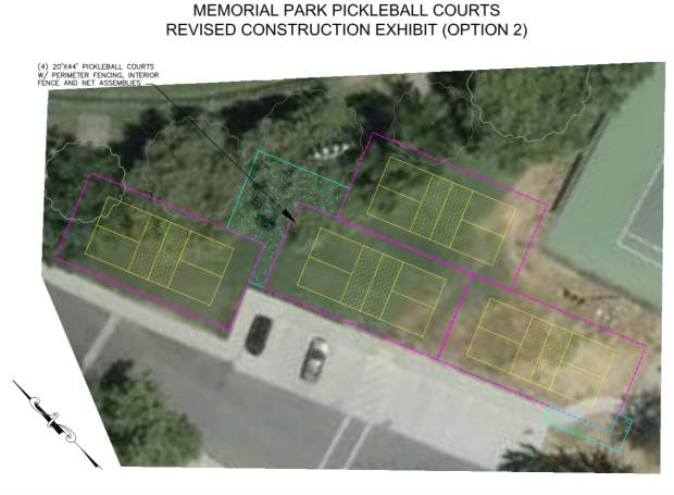 A new design authorized by Grass Valley City Council members Tuesday night involves moving the four pickleball courts originally slated for construction in the Memorial Park picnic area to an unused area between the park's softball field and tennis courts. Bjorn Jones, the city's senior civil engineer, presented this mockup design at Tuesday's council meeting, which he said he will continue to develop.