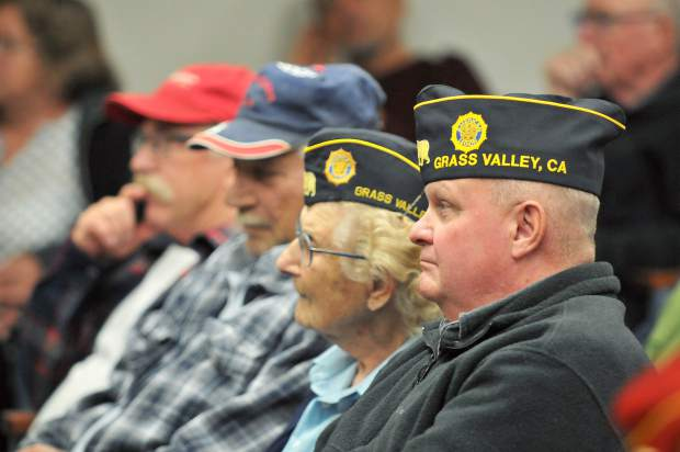 Local veterans filled the Grass Valley City Council chambers during Tuesday night's meeting regarding pickleball courts at Memorial Park.
