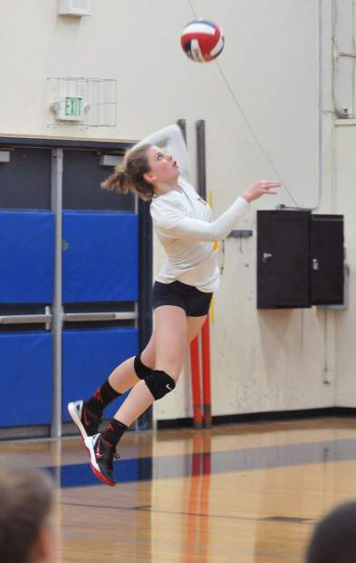 Nevada Union's Eliza Hales serves the ball during Wednesday's Division 2 Norcal tournament win over the Chico Panthers.