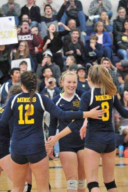 Nevada Union celebrates a point during its Sac-Joaquin Section Division II semifinal win over Del Oro Tuesday. Nevada Union will face Ponderosa in the championship game Saturday.