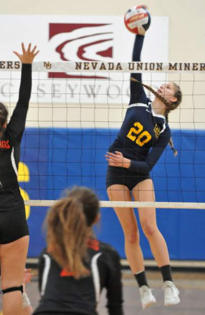 Nevada Union's Greta Kramer tallied six kills and two blocks in the Lady Miners' playoff victory over Vacaville.