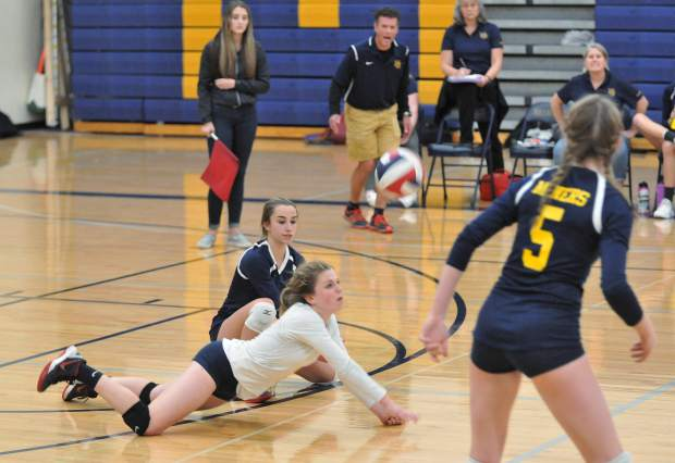 Nevada Union's libero Eliza Hales was busy all night with a team-high 23 digs in the Lady Miners' playoff win over Vacaville.