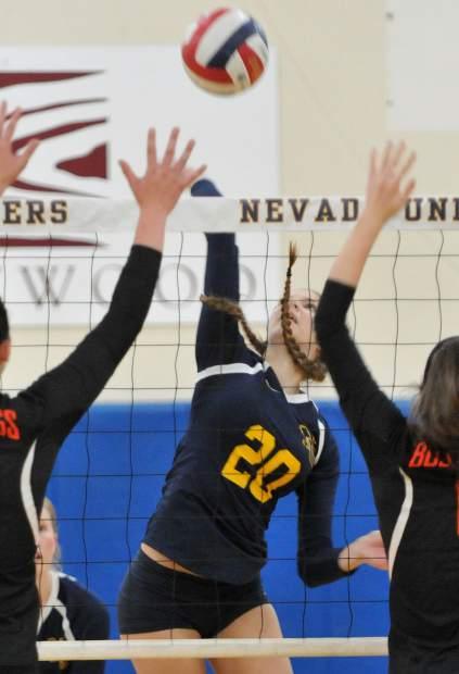Nevada Union's Greta Kramer tallied six kills and two blocks in the Lady Miners' playoff vistory over Vacaville.