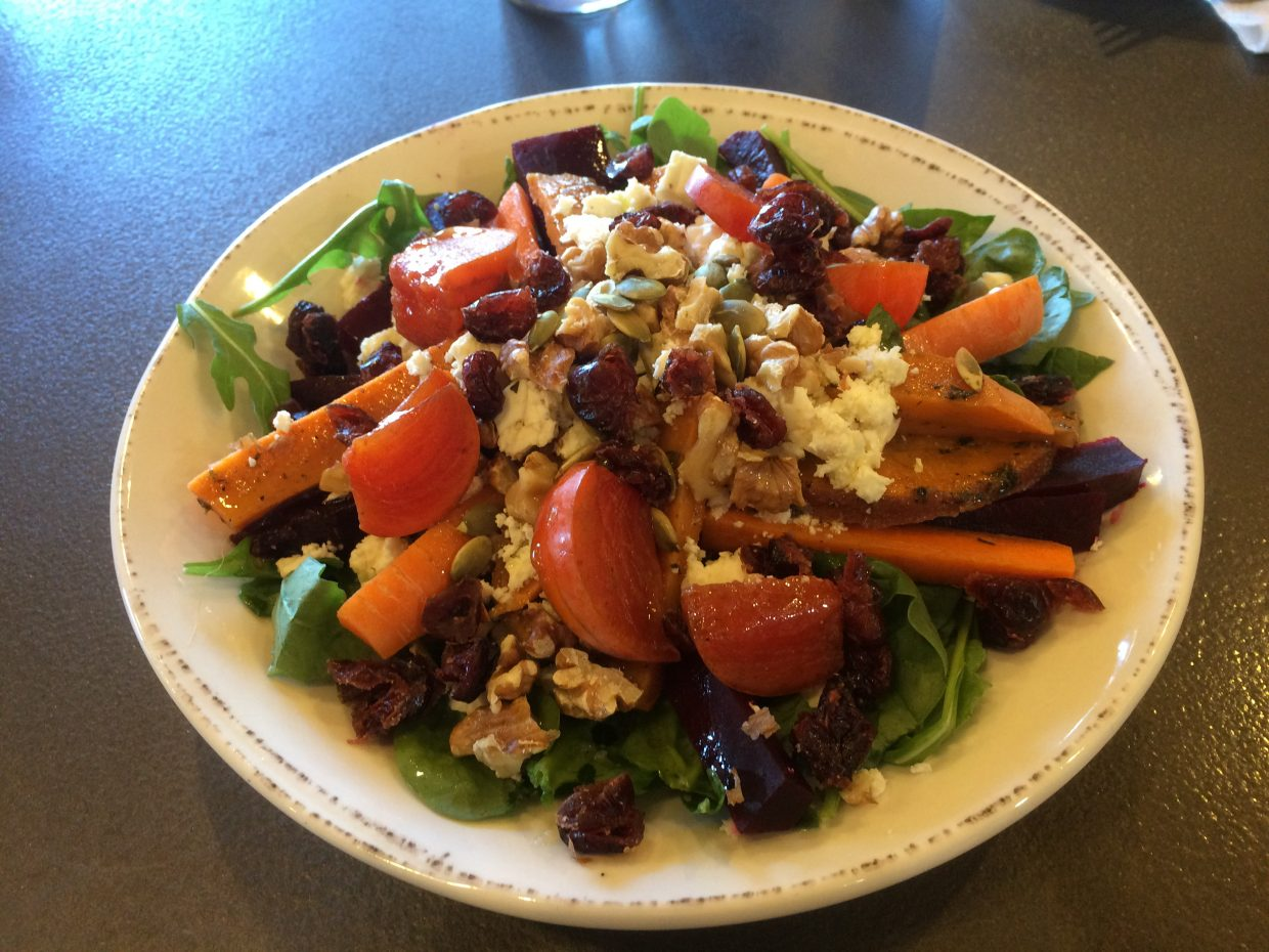 The Roasted Root Vegetable salad with house dressing is truly