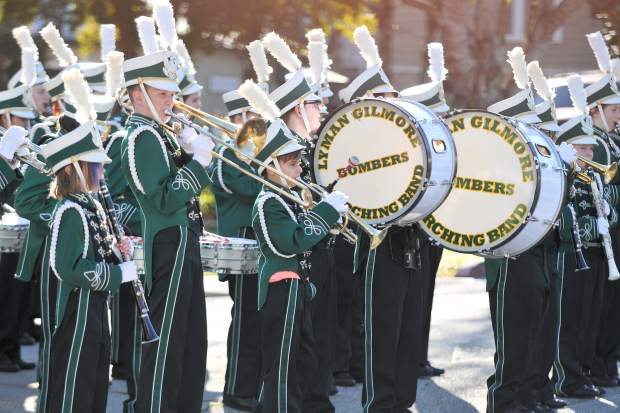 Members of the Lyman Gilmore Marching Band led Thursday's Donation Day and played festive holiday tunes.