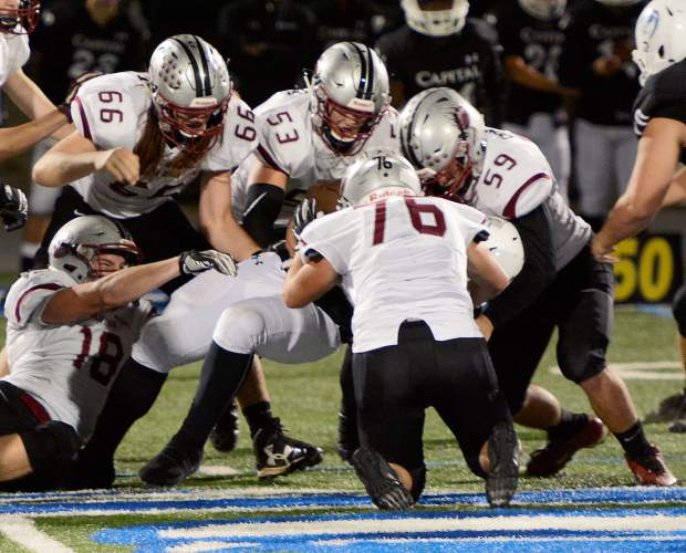 Bear River's defensive line can get after the quarterback and is also strong against the run. Pictured are Bear River's Kaden Ahlberg (76), Sam Davis (59), Trae Nix (66), Travis Carpenter (53) and Garrett Pratt (18).