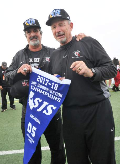 Bear River co-head coaches Scott Savoie, left, and Terry Logue led the Bruins to their second Sac-Joaquin Section D-V Championship in the last four years.