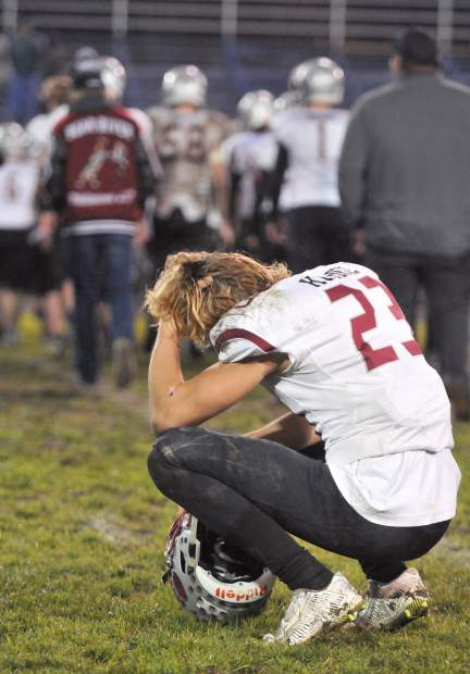Bear River's Calder Kunde reacts after the Bruins' 34-20 loss to Fortuna in the CIF NorCal 5-A Regional Bowl Game.