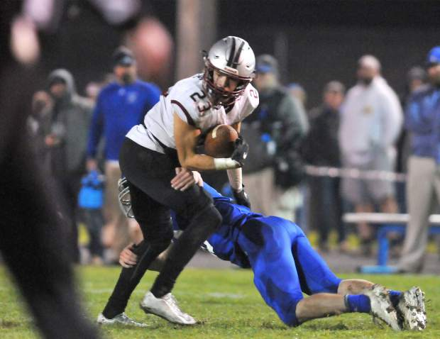 Bear River's Calder Kunde restuns a kickoff during the CIF NorCal 5-A Regional Bowl Game against Fortuna. The Bruins lost, 34-20.