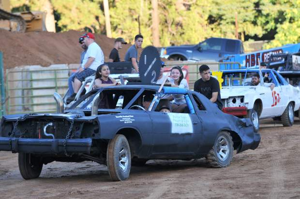 A look at a destruction derby vehicle before entering the 2017 Nevada County Fair's derby arena.