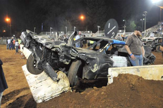 A look at the same vehicle after it's time in the 2017 Nevada County Fair destruction derby arena.