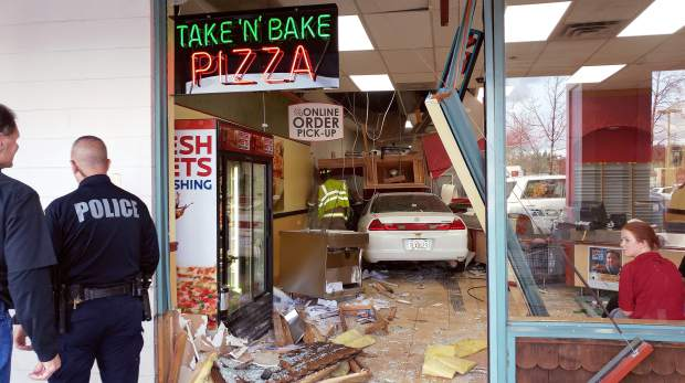 A vehicle drove well into the Papa Murphy's Take and Bake Pizza location in the Fowler Center on Nevada City Highway just before 6 p.m. on Thursday evening. A number of people were injured and pulled from the building on stretchers, although preliminary reports indicated injuries were minor. The car entered through the front and was entirely inside the store before it came to a halt. Three or four ambulances showed up along with a number of law enforcement officers. Go to The Union's Facebook page for video footage filmed after the incident.