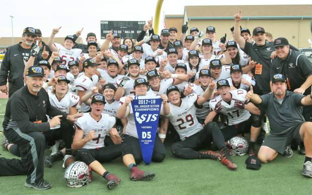 Bear River celebrates its 30-27 victory over Colfax in the Sac-Joaquin Section D-V Championship.