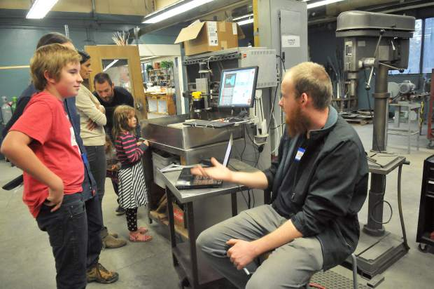 Folks hear from resident experts on Curious Forge equipment that is made available to the makerspace's members. Members can utilize equipment such as woodworking, metal machining, ceramics, CNC, and more.